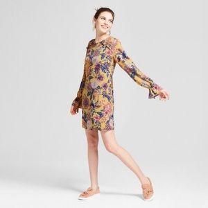 Floral Print Long Sleeve Ruffled Neckline Dress